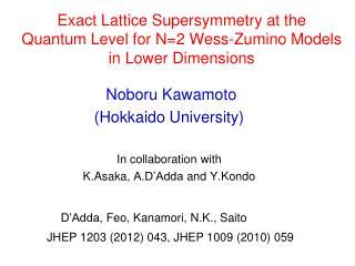 Noboru Kawamoto  (Hokkaido University) In collaboration with  K.Asaka ,  A.D'Adda  and  Y.Kondo