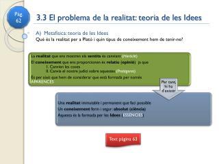 3.3 El problema de la realitat: teoria de les Idees