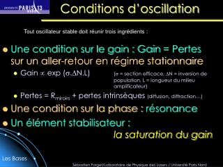 Conditions d oscillation