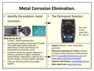 Metal Corrosion Elimination.