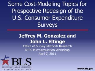 Some Cost-Modeling Topics for Prospective Redesign of the U.S. Consumer Expenditure Surveys