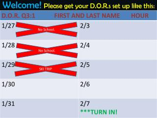Welcome!  Please get your D.O.R.s set up like this: