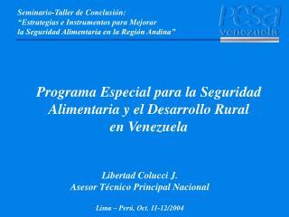 Programa Especial para la Seguridad Alimentaria y el Desarrollo Rural  en Venezuela