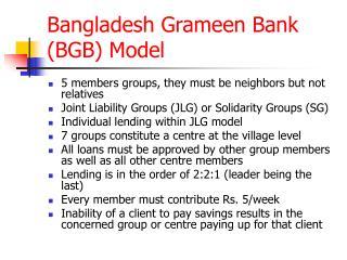 Bangladesh Grameen Bank BGB Model