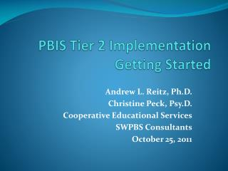 PBIS Tier 2 Implementation Getting Started