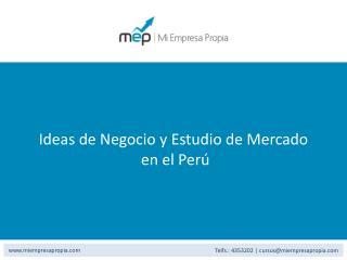 Ideas de Negocio y Estudio de Mercado  en el Per ú