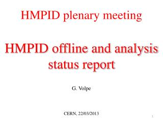 HMPID plenary meeting