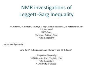 NMR investigations of  Leggett- Garg  Inequality