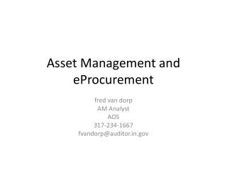Asset Management and eProcurement