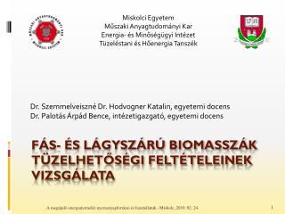 FÁS- ÉS LÁGYSZÁRÚ BIOMASSZÁK TÜZELHETŐSÉGI FELTÉTELEINEK VIZSGÁLATA