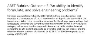 "ABET Rubrics: Outcome E ""An ability to identify formulate, and solve engineering problems"""