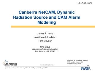 Canberra NetCAM, Dynamic Radiation Source and CAM Alarm Modeling