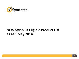 NEW  Symplus  Eligible Product List as at 1 May 2014