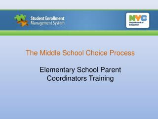 The Middle School Choice Process Elementary School  Parent Coordinators Training