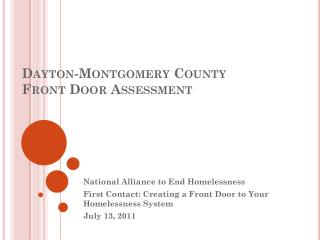 Dayton-Montgomery County Front Door Assessment