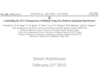 Simon Hutchinson February 21 st  2012