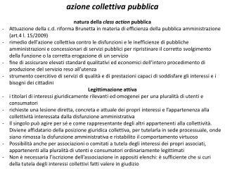 azione collettiva pubblica natura della  class action pubblica