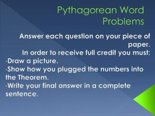 Pythagorean Word Problems