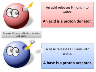 An acid releases H +  ions into water. An  a cid is a proton donator.