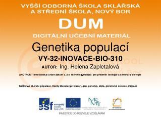 Genetika populací