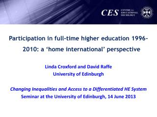 Participation in full-time higher education 1996-2010: a 'home international' perspective