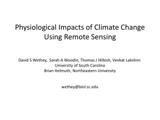 Physiological Impacts of Climate Change  Using Remote Sensing