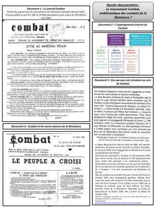 Document 2 : L'organigramme interne de Combat