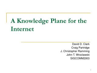 A Knowledge Plane for the Internet