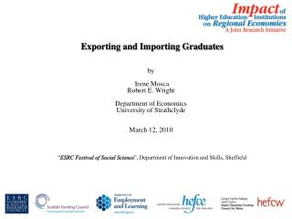 Exporting and Importing Graduates by  Irene  Mosca Robert E. Wright Department of Economics