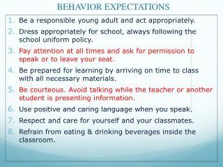 BEHAVIOR EXPECTATIONS