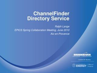 ChannelFinder Directory Service