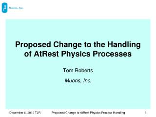 Proposed Change to the Handling of AtRest Physics Processes