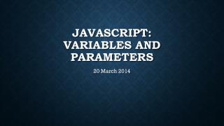 Javascript : variables and parameters