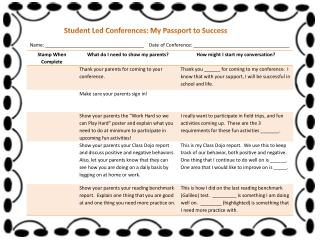 Student Led Conferences: My Passport to Success