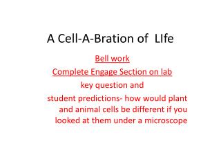 A Cell-A- Bration  of   LIfe