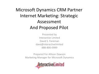 Microsoft Dynamics CRM Partner Internet Marketing: Strategic Assessment  And Proposed Pilot