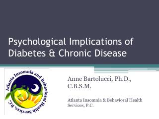 Psychological Implications of Diabetes & Chronic Disease