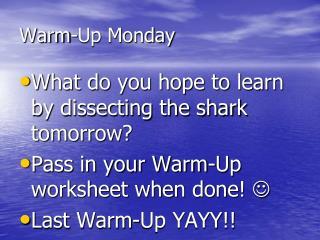 Warm-Up Monday