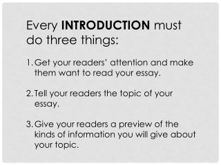 Every  INTRODUCTION  must do three things: