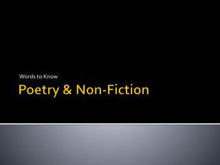 Poetry & Non-Fiction