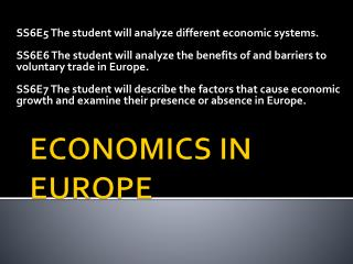 ECONOMICS IN EUROPE