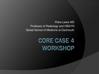 CORE Case 4 Workshop