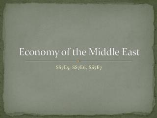 Economy of the Middle East
