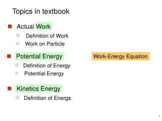 Topics in textbook
