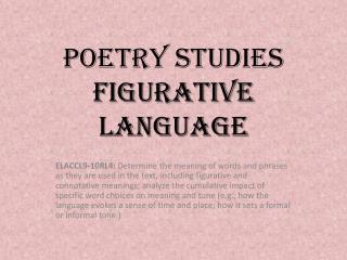 Poetry Studies Figurative Language