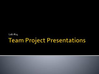 Team Project Presentations