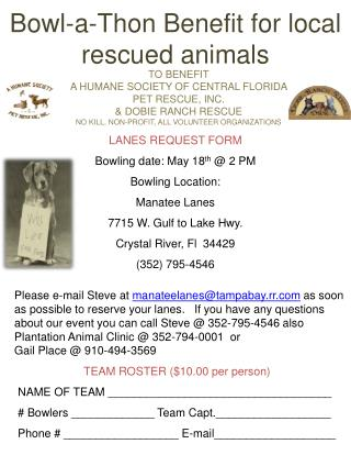 Bowl-a-Thon Benefit for local rescued animals