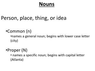 Nouns Person, place, thing, or idea Common (n )