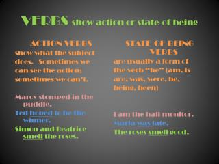 VERBS  show action or state-of-being
