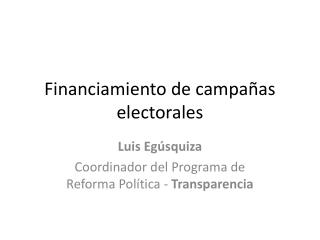 Financiamiento de campa�as electorales